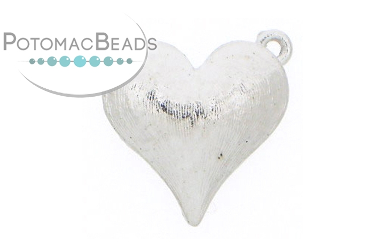 Claspgarten Clasp Brushed Heart 17mm Silver (Rhodium Plated)