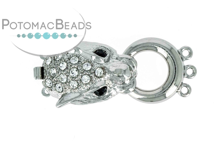 Claspgarten Clasp Dragon with Crystals 3-loop 32x15mm Silver (Rhodium Plated)
