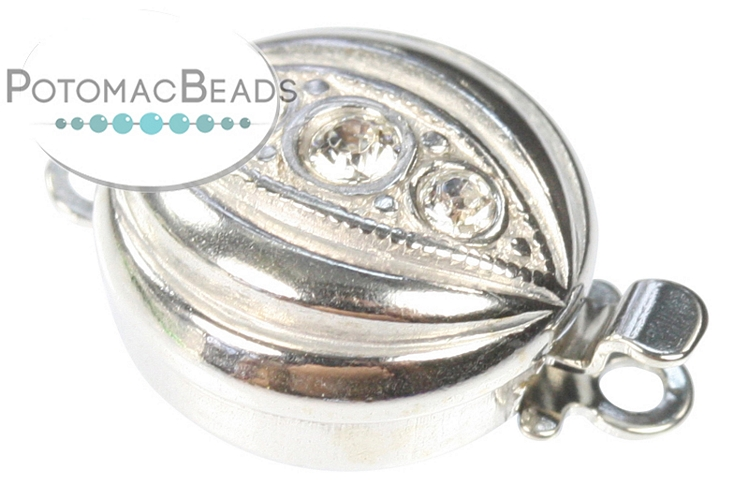 Claspgarten Clasp Disc 3 Crystal SS 1-Strand (Sterling Silver)