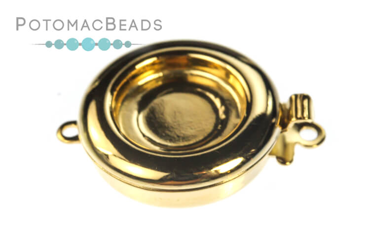 Claspgarten Clasp Gold Plated Round 1-loop Gold (23kt Gold Plated)