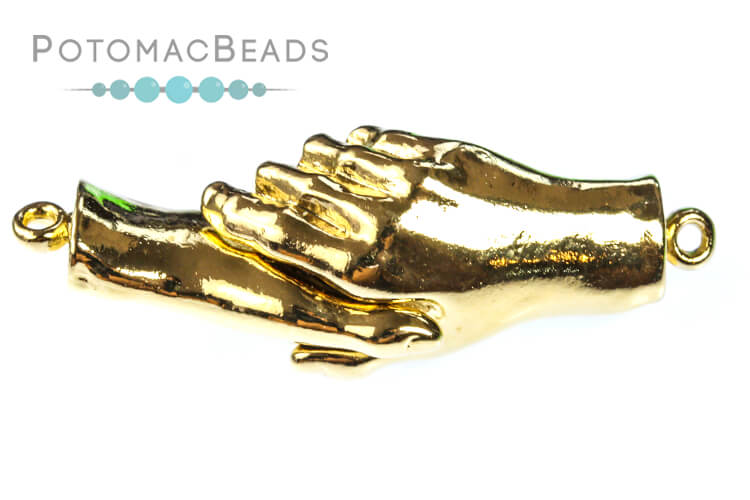 Claspgarten Clasp Grasped Hands Magnetic 1-Strand Gold (23kt Gold Plated)