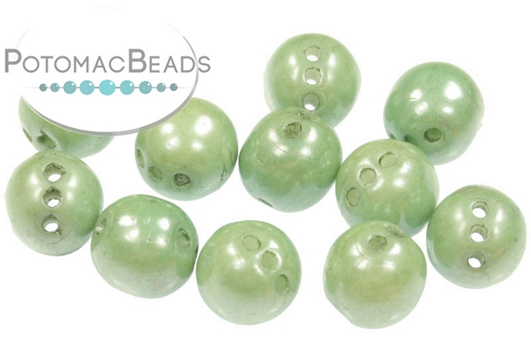 RounTrio Beads - White Teal Luster 6mm