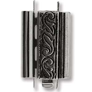 Beadslide Clasp Swirl Design Antique Silver 10x18mm
