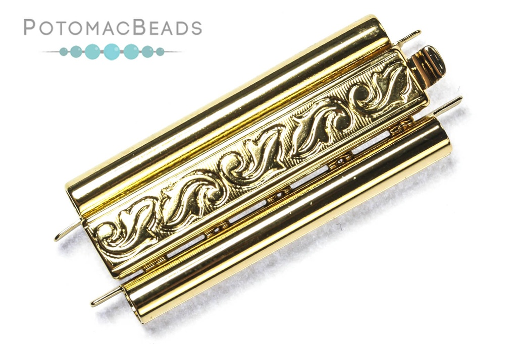Beadslide Clasp Swirl Design 23k Gold-Plated 10x29mm