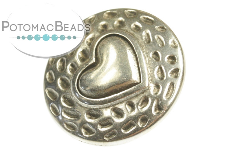 Button Heart 17mm Antique Silver