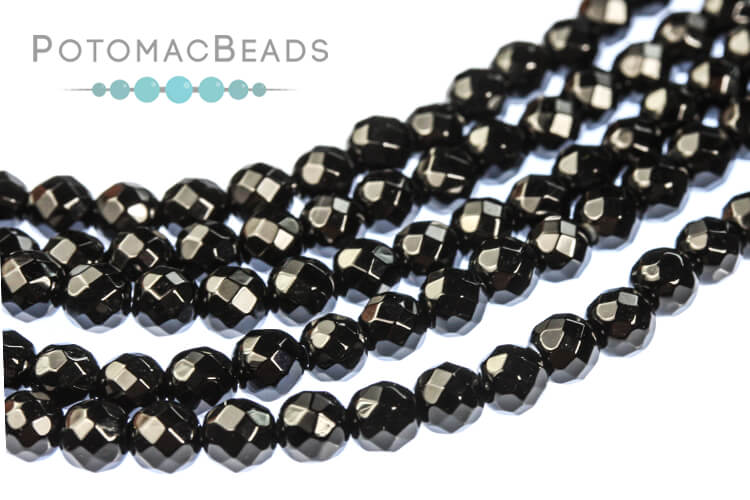 """Gemstones - Black Onyx Faceted Round Beads 4mm 16"""" Strand"""