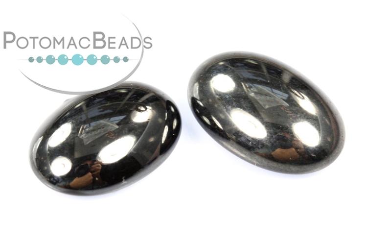 Czech Cabochon - Hematite 10x14mm