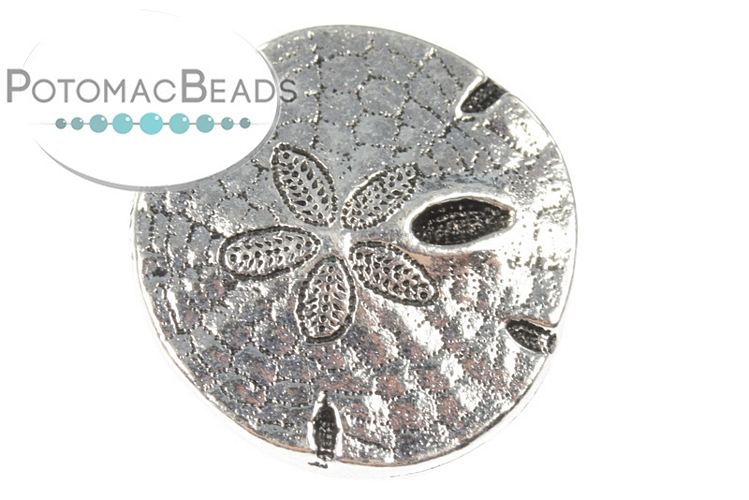 Button Sand Dollar Antique Silver