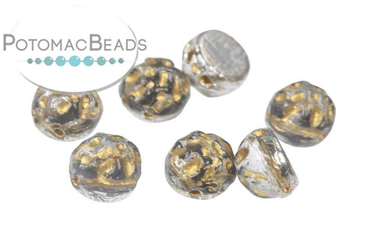 2-Hole Baroque Cabochon Beads - Backlit Menthol/Gold 7mm