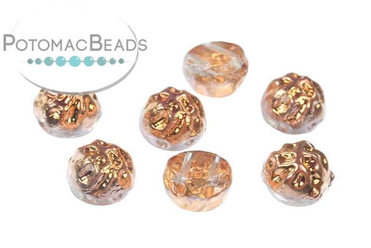 2-Hole Baroque Cabochon Beads - Crystal Sunset 7mm