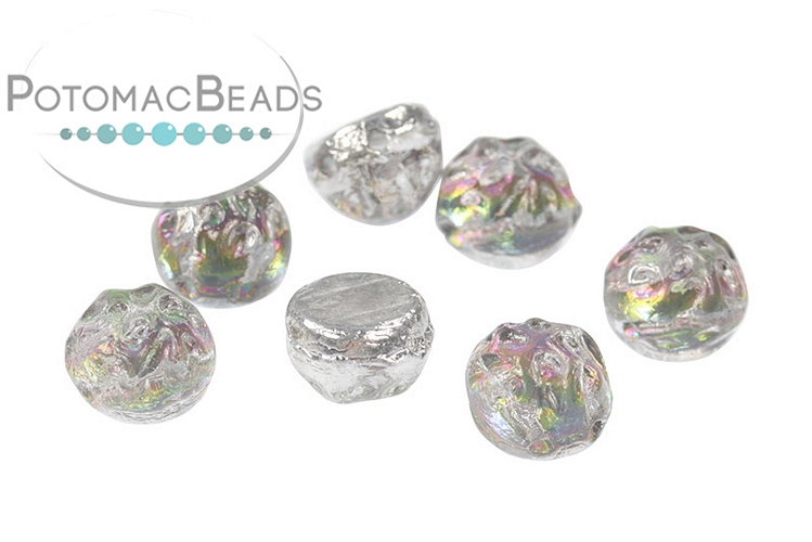 2-Hole Baroque Cabochon Beads - Backlit Spectrum 7mm