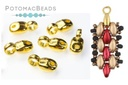 Cymbal SuperDuo Vourkoti Bead Ending with Loop Gold
