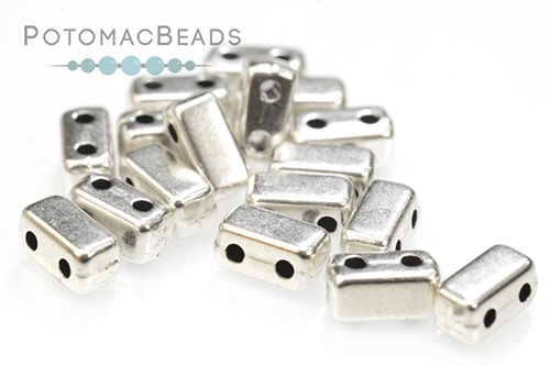 Potomax Brick Bead - Antique Silver (Pack of 10)
