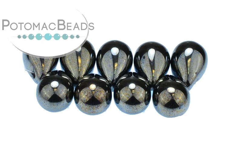 Czech Drop Beads - Jet Hematite 9x6mm