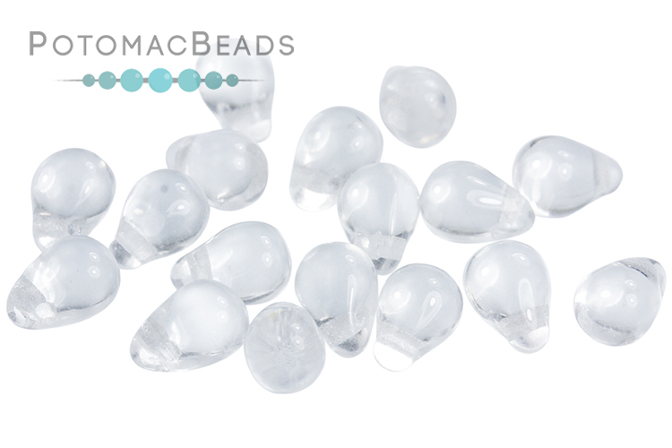 Czech Drop Beads - Crystal 4x6mm
