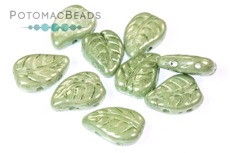 LeafDuo - White Teal Luster 7x10mm