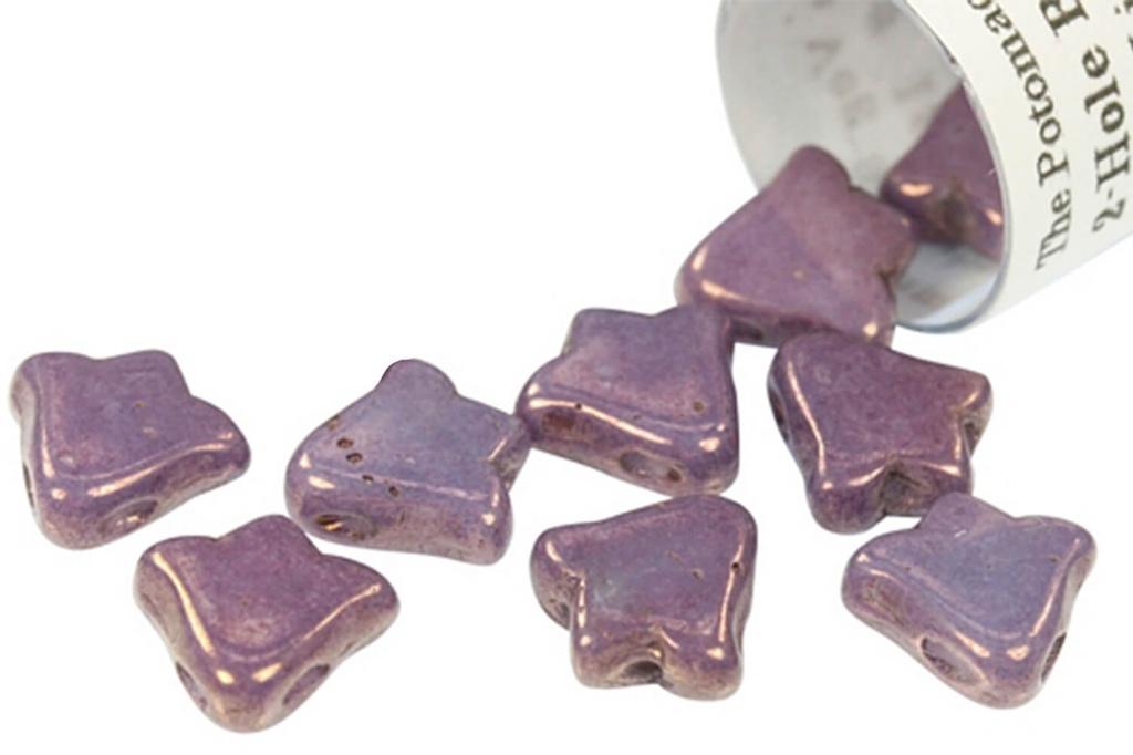 2-Hole Bell Beads 8x5mm- White Lila Vega Luster