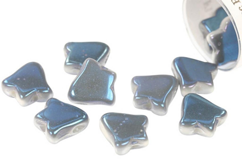 2-Hole Bell Beads 8x5mm - White Blue Flare Full