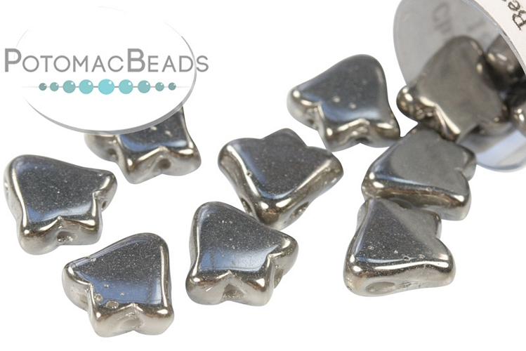 2-Hole Bell Beads 8x5mm - White Full Chrome