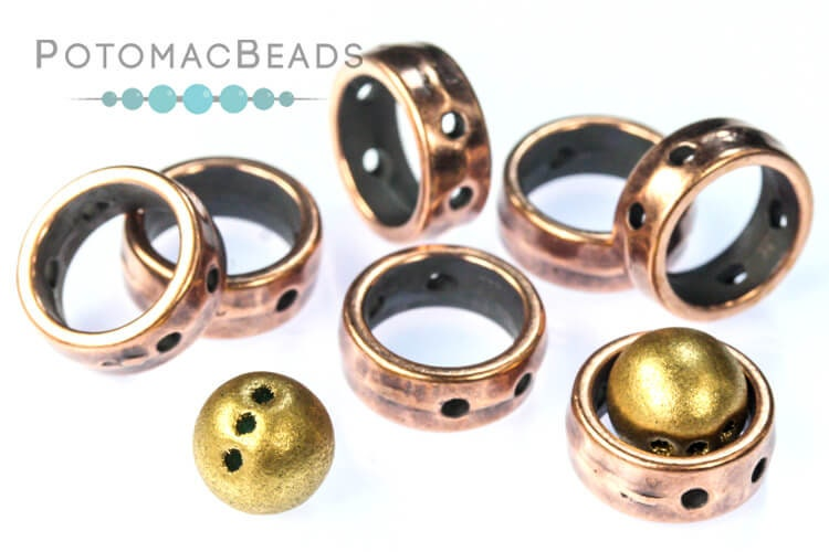 Halo Beads 2-Hole Antique Copper (10 pack)