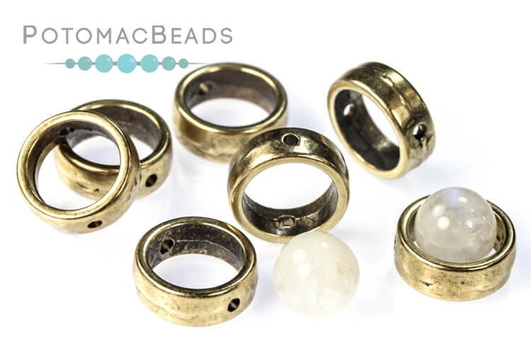 Halo Beads 1-Hole Antique Brass (10 pack)