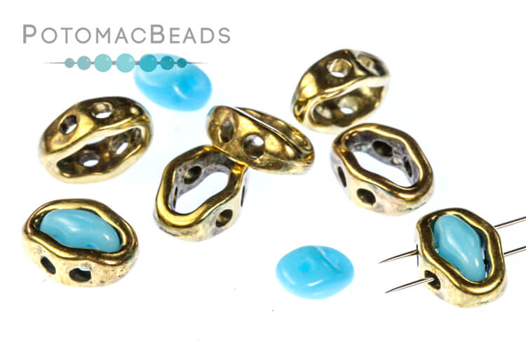 Halo Beads for SuperDuo - Antique Brass (10 Pack)