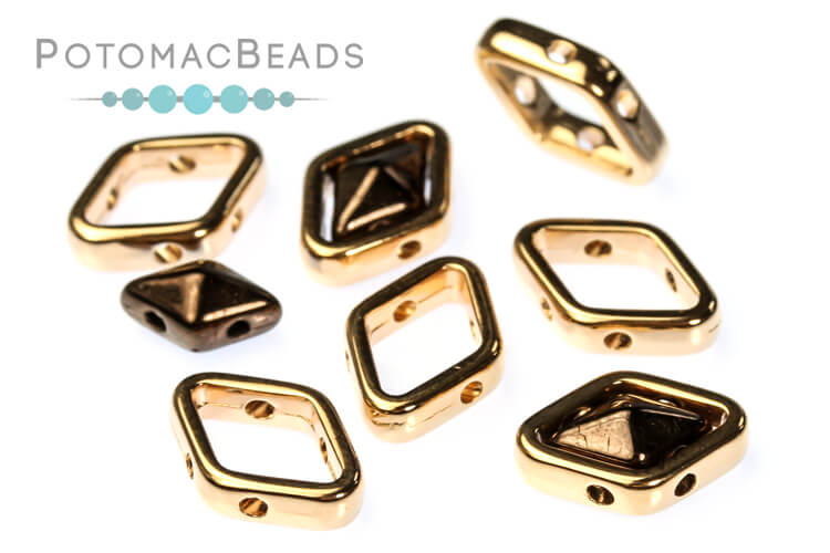 Halo Beads for Diamond Shapes - Rose Gold (50 Pack)