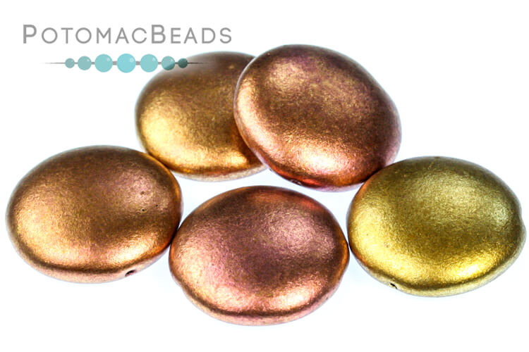 2-Hole 18mm Cabochons - Ancient Gold