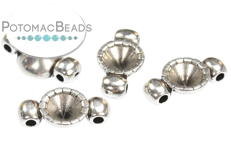 Potomax 2-hole Spacer Bezel (Antique Silver) for SS20 or SS24 Chatons