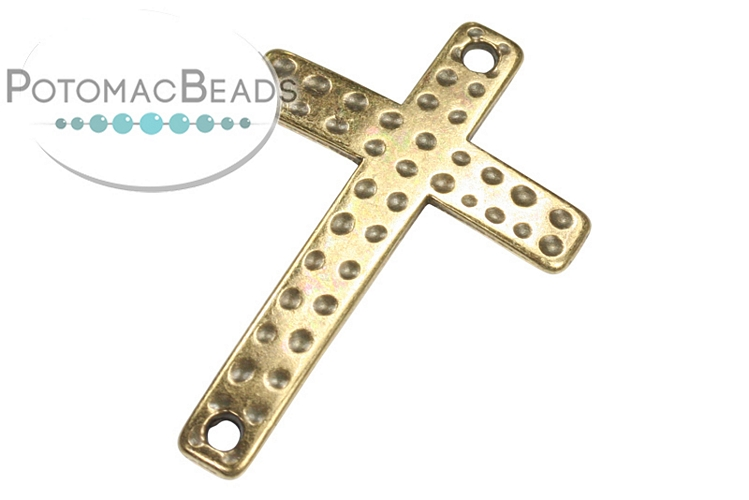Cross Curved Connector Antique Brass