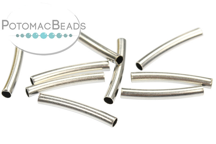 Curved Tube 15x2mm Antique Silver