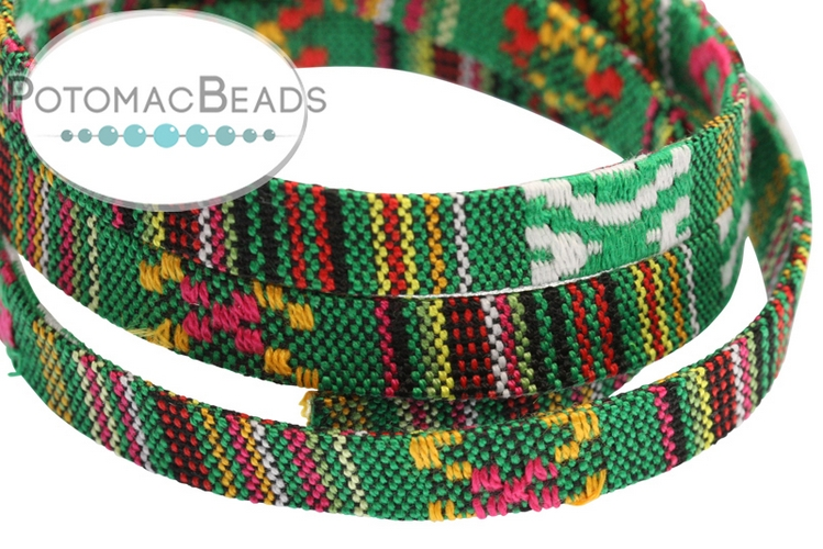 Cotton Flat Ethnic Cord - Green Multi 10mm