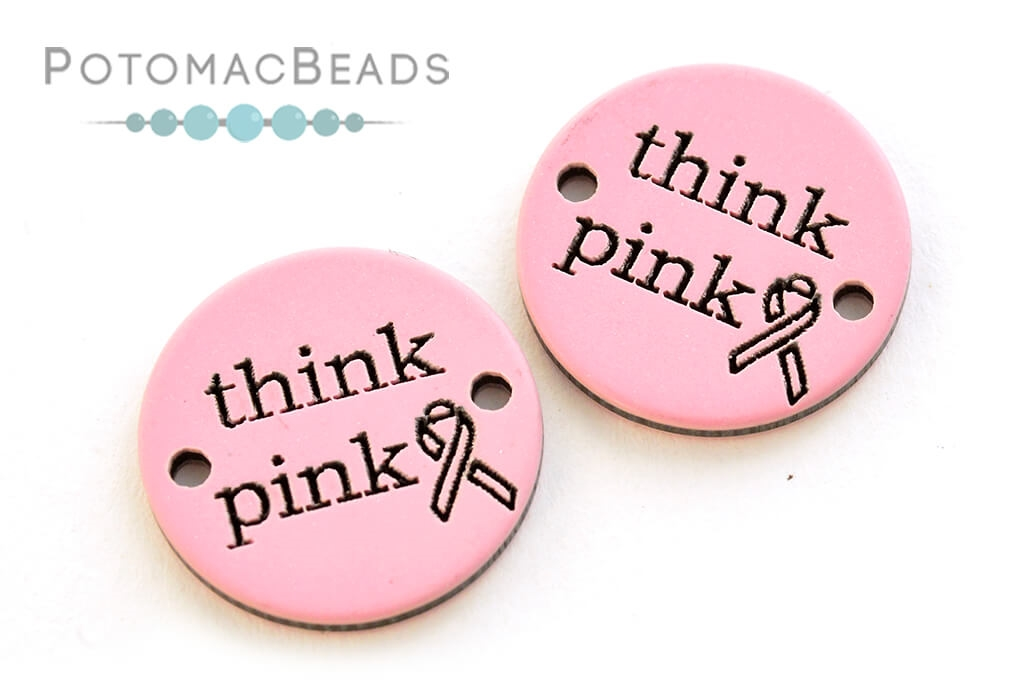 """Connector - Acrylic Round """"Think Pink"""" Cancer Awareness 20mm Pink (Pack of 2)"""