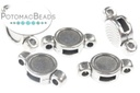 2-Hole Bezel 7mm Setting Silver Plated