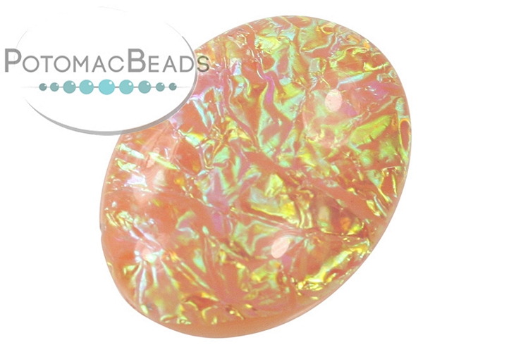 Resin Cabochon - Peach Electric Ice 18x25mm