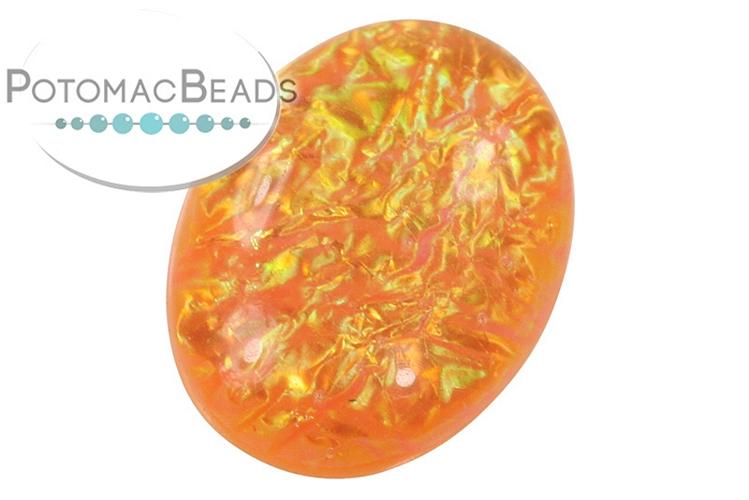 Resin Cabochon - Orange Electric Ice 18x25mm