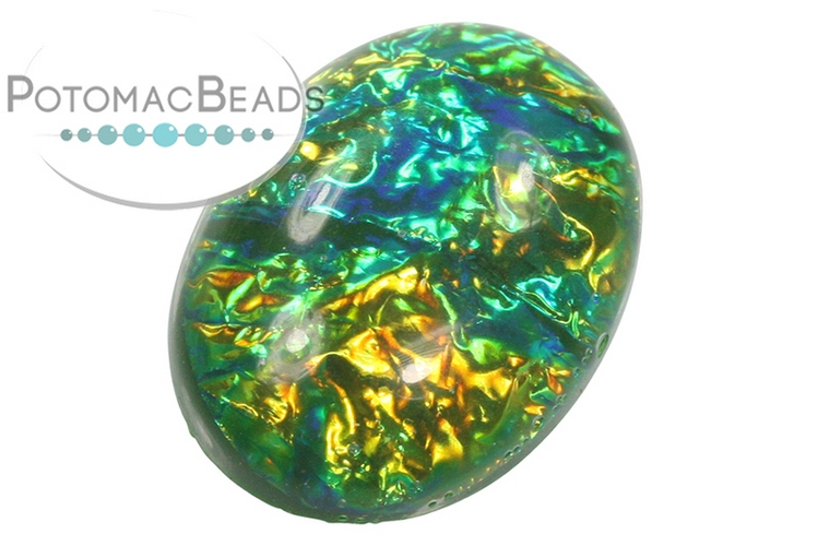 Resin Cabochon - Green Electric Ice 18x25mm