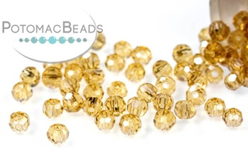 [209510] Potomac Crystal Round Beads - Gold Champagne 2mm