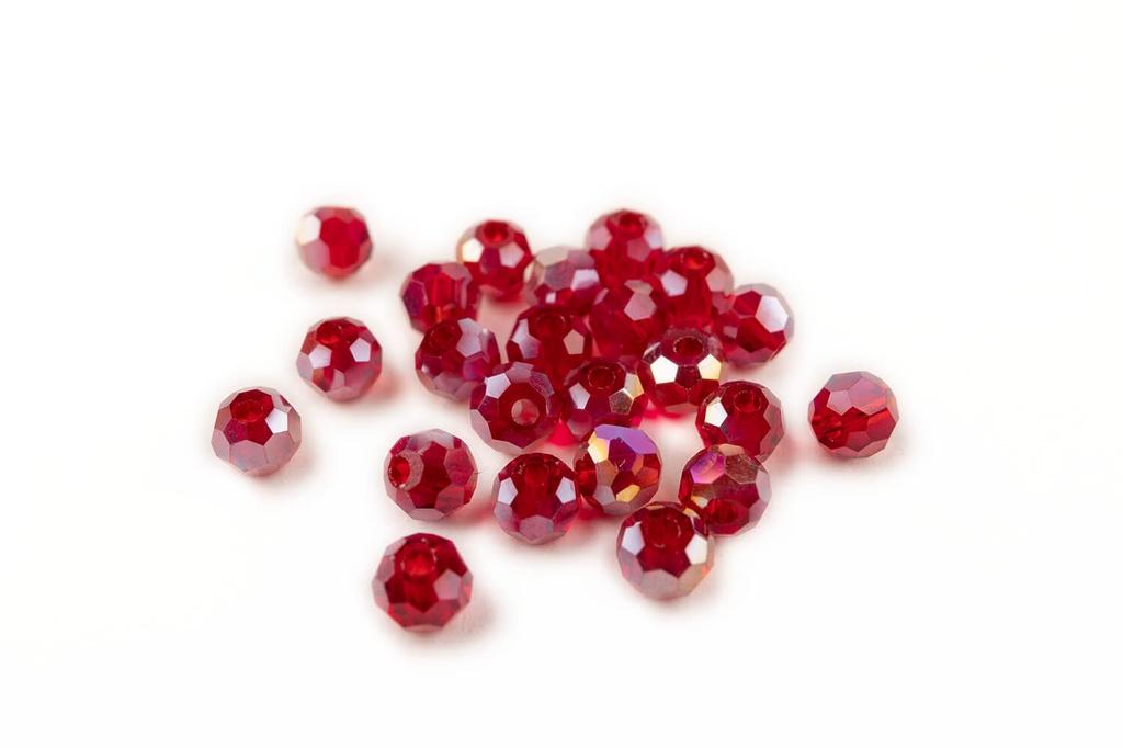 Potomac Crystal Round Beads - Garnet AB 3mm