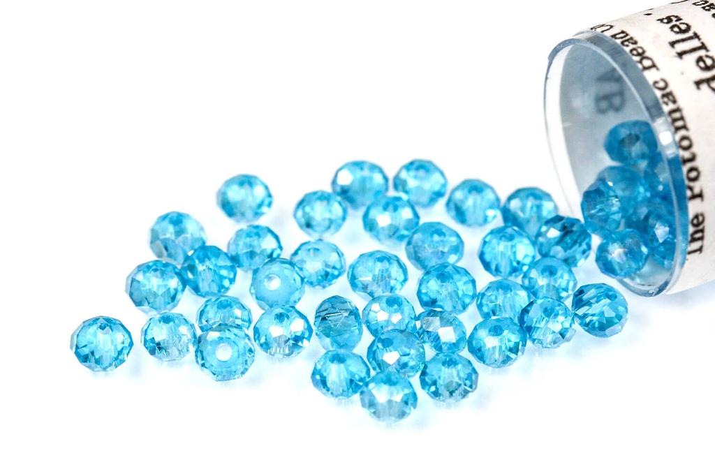 Potomac Crystal Rondelle Beads - Aqua AB 1.5x2mm