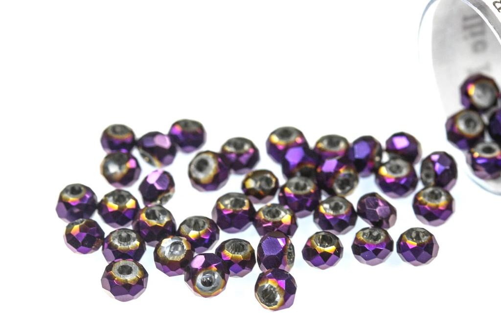 Potomac Crystal Rondelle Beads - Metallic Purple Iris 1.5x2mm