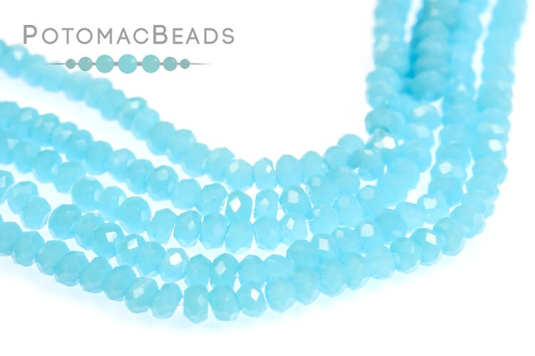 Potomac Crystal Rondelle Beads - Turquoise 1.5x2mm