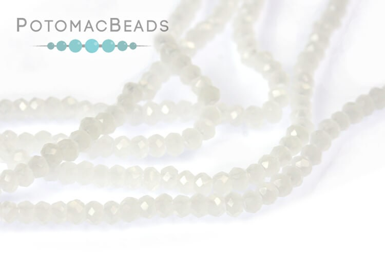 Potomac Crystal Rondelle Beads - White Opal 1.5x2mm