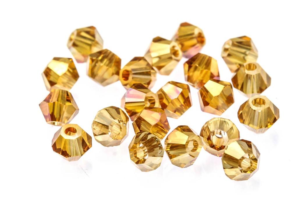 Potomac Crystal Bicones - Apricot AB 3mm