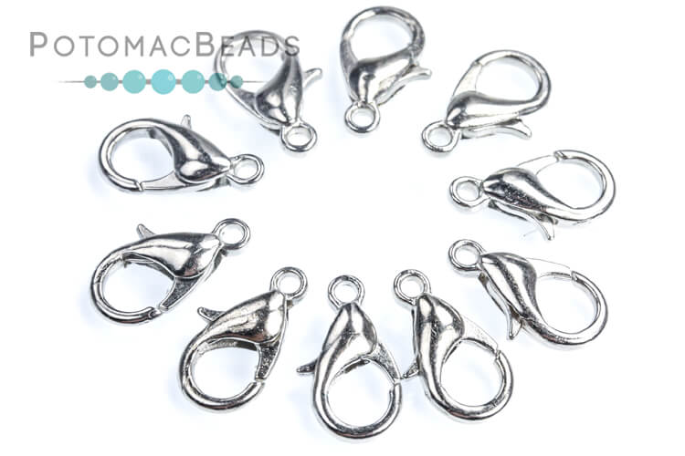 Lobster Clasp 12mm - Antique Silver Plated (Pack of 10)
