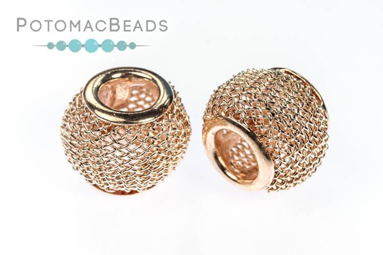 Mesh Beads - Rose Gold (9.7x11.7mm)