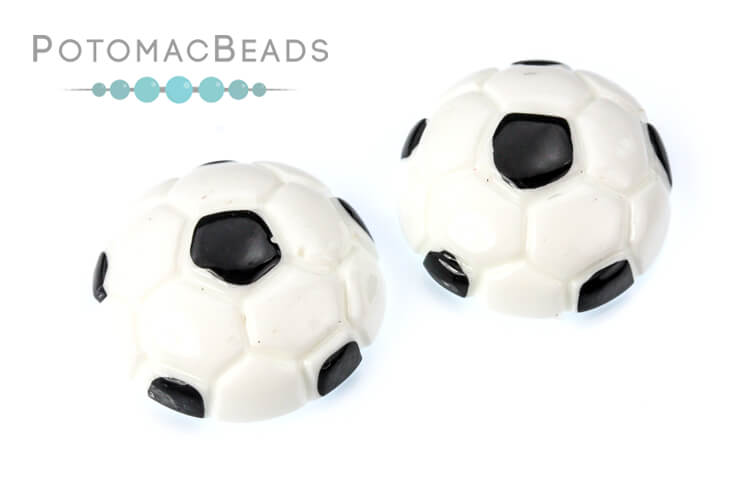 Resin Cabochon - Soccer Ball 15mm