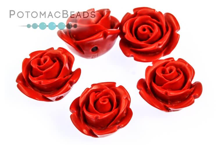 Cinnabar Rose Beads (Manmade) 14mm
