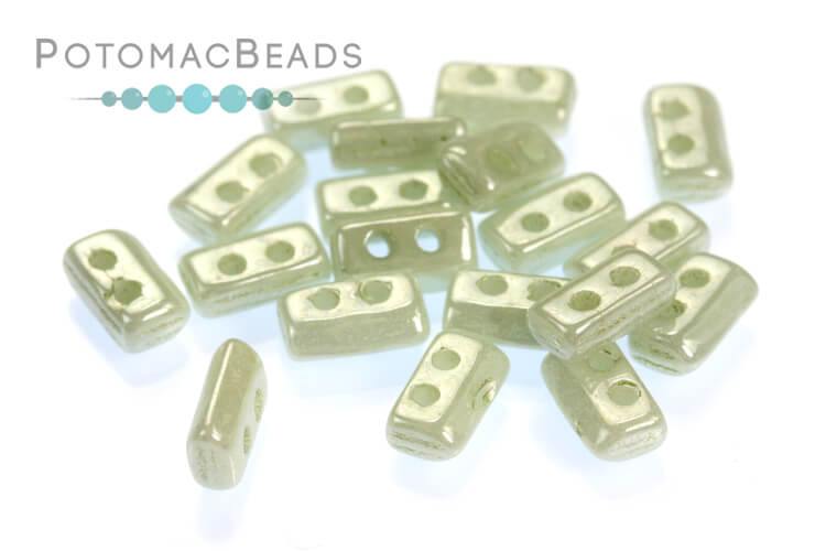 Piros par Puca Beads - White Mint Luster (Light Green Ceramic Look)