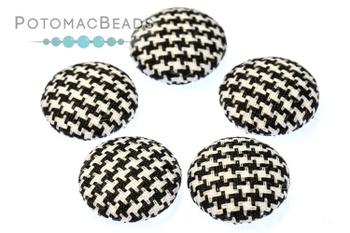 [300457] Fabric Cabochon - Checkerboard 15mm (Pack of 5)